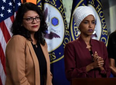 US congresswomen Rashida Tlaib and Ilhan Omar.
