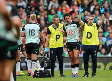 Joey Carbery was forced off against Italy in the Ireland's opening World Cup warm-up game.
