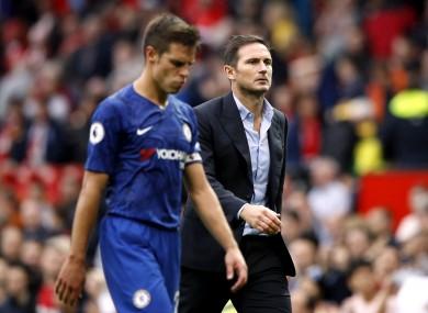 Cesar Azpilicueta and Chelsea manager, Frank Lampard.