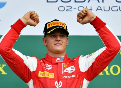 Mick Schumacher celebrates his win in Hungary.