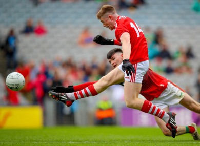 Patrick Campbell fires home Cork's first-half goal.