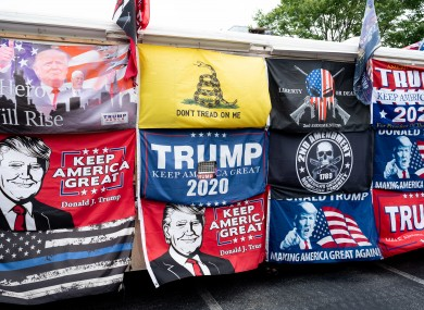Pro-Trump merchandise at a rally in California.