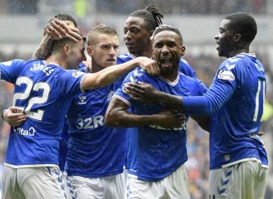 Jermain Defoe (centre) celebrates.