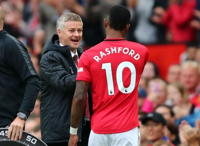 Marcus Rashford and Ole Gunnar Solskjaer.
