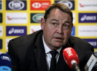 Head coach of the All Blacks Steve Hansen pictured during a press conference.
