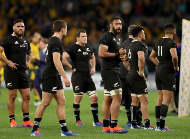 All Blacks players look on after their loss during the Bledisloe Cup match last weekend.