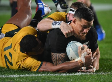 Sonny Bill Williams scores a try for New Zealand.