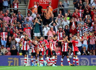 Vestergaard celebrates with his Southampton team-mates.