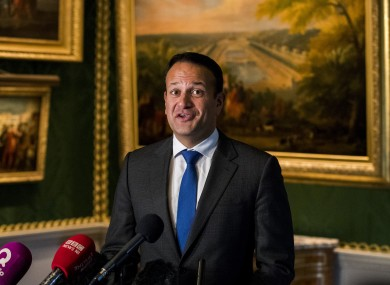 Leo Varadkar speaking in Hillsborough Castle earlier today.