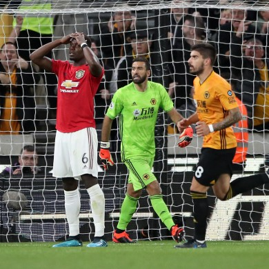 Manchester United's Paul Pogba reacts to his penalty miss.