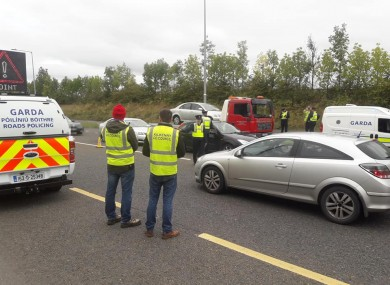 A Garda/Kilkenny County Council checkpoint yesterday.