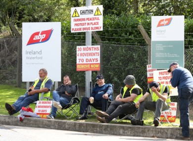 Farmers at a picket in Waterford last month.
