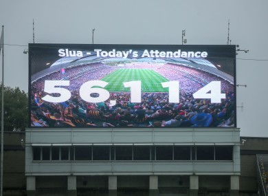 The record attendance is displayed at Croke Park.