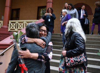 MP Jenny Leong is hugged by a supporter outside Parliament House after the passing of the amended Abortion Law Reform Act.
