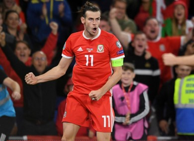 Gareth Bale celebrating for Wales