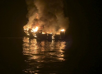 The dive boat engulfed in flames off the Southern California Coast on 2 September
