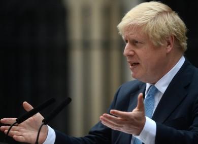 Prime Minister Boris Johnson speaking outside 10 Downing Street yesterday
