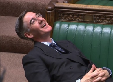 Leader of the House of Commons Jacob Rees-Mogg relaxing this evening.