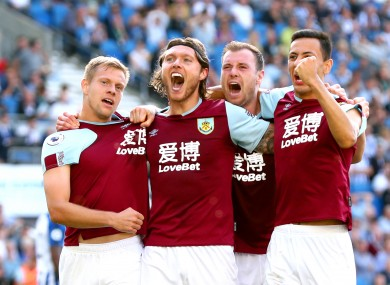Burnley's Jeff Hendrick (second left) celebrates scoring.