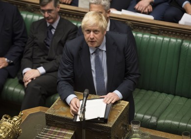 Boris Johnson in the House of Commons yesterday