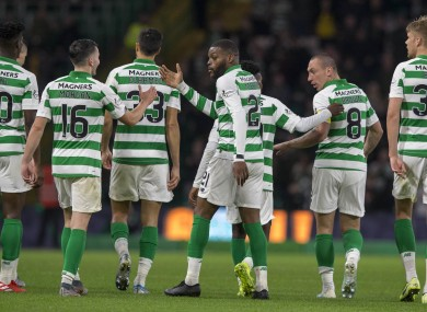 Olivier Ntcham celebrates scoring his side's fourth goal.
