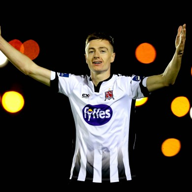 Daniel Kelly celebrates his goal.