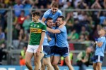 Dublin players celebrate at the final whistle.