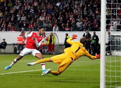 Pierre-Emerick Aubameyang adds a third for Arsenal.