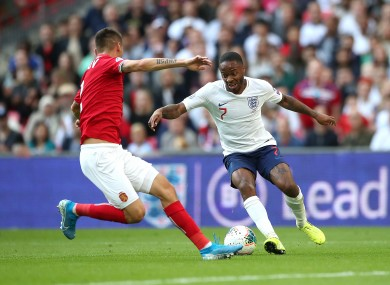 Sterling in action for England against Bulgaria on Saturday.