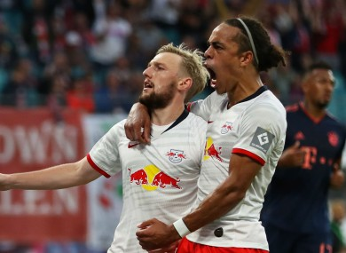 Emil Forsberg celebrates his goal against Bayern Munich.