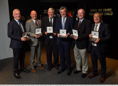 Nicky English, Terence 'Sambo' McNaughton, Conor Hayes, Colm O'Rourke, Larry Thompkins and Denis 'Ogie' Moran at the GAA Museum where they were inducted into the Hall of Fame.
