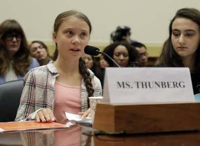 Swedish climate change activist Greta Thunberg testifies at a congressional hearing on