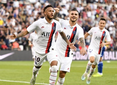 Neymar celebrates his audacious winner.