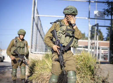 Israeli soldiers on patrol on the Lebanon border.