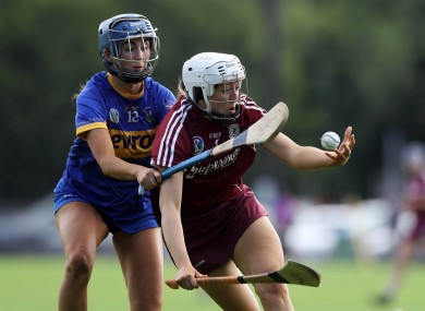 Galway's Lisa Casserly and Andrea Loughnane of Tipperary.