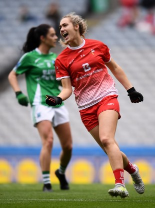 Kate Flood of Louth celebrates after scoring her side's first goal during the TG4 All-Ireland Ladies Football Junior Championship final.