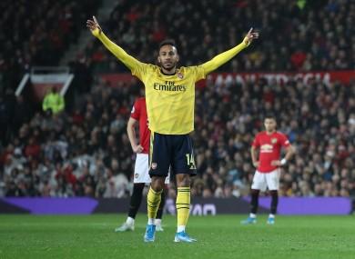 Arsenal's Pierre-Emerick Aubameyang celebrates scoring.