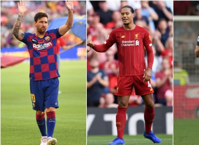 Lionel Messi, Virgil van Dijk and Cristiano Ronaldo are up for the best men's player award.