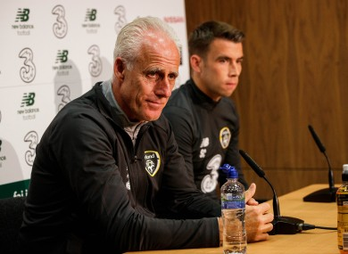 Mick McCarthy pictured at today's press conference with Seamus Coleman.