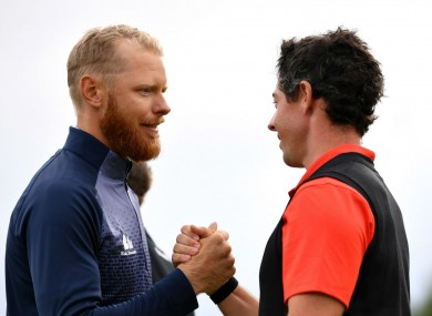Sebastian Soderberg and Rory McIlroy at the European Masters.