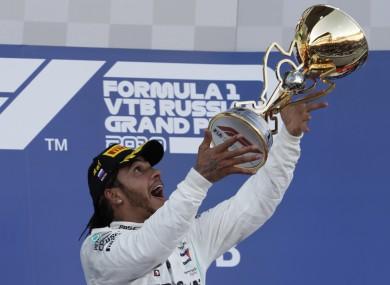 Hamilton celebrates in Sochi.