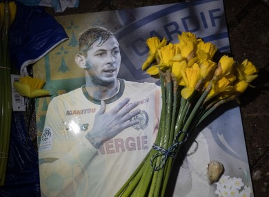 A tribute to Sala at Cardiff City Stadium.