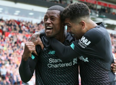 Liverpool's Georginio Wijnaldum celebrates scoring.