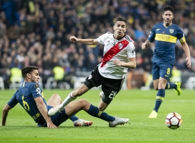 River Plate Ignacio Fernandez and Boca Juniors Lisandro Magallan during last year's final.