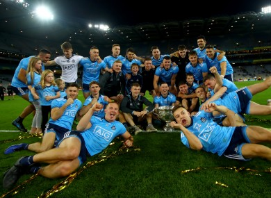 Dublin players celebrate their triumph.
