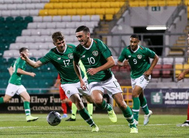 Parrott celebrates giving Ireland the lead at Tallaght Stadium.