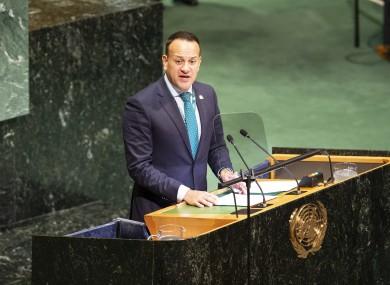 Leo Varadkar speaking at the UN last year.