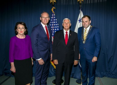 Rose Hynes, Chairman Shannon Group, Tánaiste Simon Coveney TD, Vice President of the United States of America Mr Mike Pence and Mayor of Clare Cllr Cathal Crowe TD on the Vice Presidents arrival at Shannon Airport today.