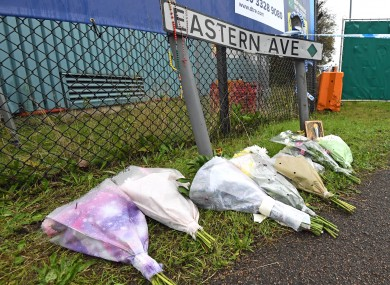 Flowers near the site where the 39 bodies were found in Essex.