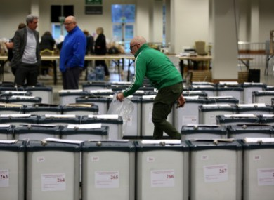 Ballot boxes at a count centre in Ireland.